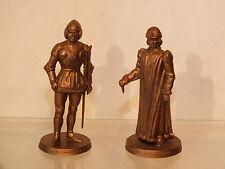 2 Sujets Jeu Echec Mokarex Dorés Pion Hallebardier et Roi Charles le Téméraire