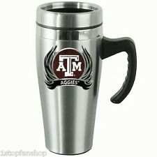 Texas A&M Aggies 14 oz Stainless Steel Travel Mug w/ Handle & Flames Football