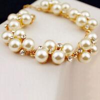 Brazalete cuentas perlas imitación venecianas diamantes Pulsera con estilo mujer