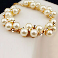 Charme Cristal Strass Perles Perles Bracelet Manchette Chaîne Femmes Bijoux