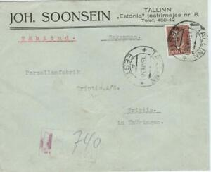 Estonia 1936 cover with 50 S. stamp, registered TALLINN to TRIPTIS/Germany