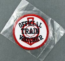 Collectible Official Train Watcher Emblem Red White Sew On Shirt Patch