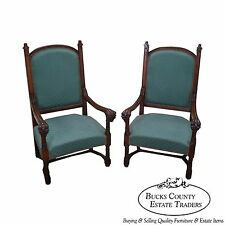 Antique 19th Century Pair of Gothic Oak Throne Arm Chairs