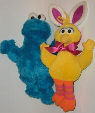 """Big Bird (in Bunny Ears) and Cookie Monster  """"Plush Muppets"""" Sesame Street"""