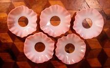 5x Vintage French Deco Rose Opaline Milk Glass Candle Goutte à Goutte Anneaux bobèche plateaux!