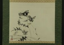 """Japanese Hanging Scroll Art Painting """"Flower and Butterly"""" #E4556"""