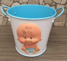Metal Pail Bucket Candy Favor Boxes, 5-Inch / Baby Boy Shower / Light Blue