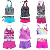 Kid Girls Two Piece Halter Swimsuit Swimwear Swimmers Bathers Tankini Bikini Set