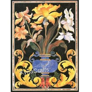 18 x 30 Inches Marble Coffee Table Top Yellow Flower Design Wall Panel for Wall