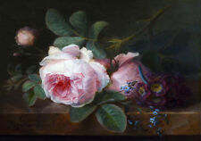 Roses Flowers Dutch Master Painting Still Life Provincial Canvas Print