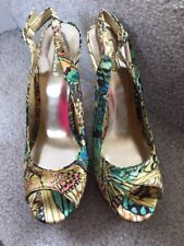 WILD PAIR  7.5 M Terra Bright Multi Butterfly SHOES with Wicker  Heel Mint!