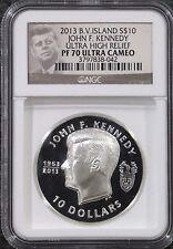 2014 B.V.Island $10 Kennedy JFK 2 oz SILVER ULTRA HIGH RELEIF NGC PF70 UCAM