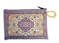 "Purple Case Tapestry Rosary Coin Case Pouch Purse Keepsake Holder 5 1/2"" Gift"