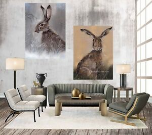 SET OF 2, WINTER HARE & HARRY HARE, CHUNKY BOX CANVAS WRAPS FROM MY ART PAINTING