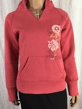 Maurice's Pink Hooded Pullover Sweatshirt With Floral Design & Sparkle Women's S