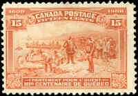 1908 Mint Canada F+ Scott #102 15c Quebec Tercentenary Issue Stamp No Gum
