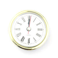 "2-1/2"" (65mm) QUARTZ CLOCK UP/Insert·Gold Trim Roman Numeral Neu"