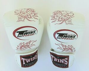 Muay Thai Boxing Dragon Gloves Used 10 oz Twins Special White Red Leather 2013