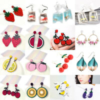 Fashion Women Fruit Geometric Acrylic Big Earrings Dangle Cute Ear Stud Jewelry