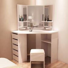 Modern Dressing Table Makeup Stool Desk Durable Curved Shape Dresser Set Corner
