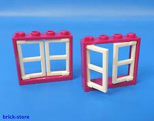 LEGO®  Nr.- 6173087 + 4520842 / 1x4x3 Fenster magenta color Türen weiß / 2 Stück