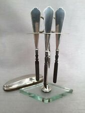 More details for vintage 1934 art deco hallmarked silver manicure set nail buffer & display stand