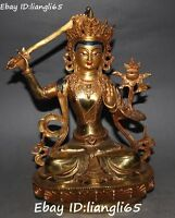 """11"""" Nepal Bronze Buddhism Wenshu Manjushri Buddha Goddess Kwan-yin Statue"""