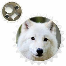 White Wolf In Forest Bottle Opener Fridge Magnet