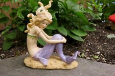 Mermaid Figurine Sitting on Ocean Floor Holding Knees Home Garden Decor New