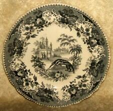 Early 1800's Staffordshire Black Transfer Plate Indian Scenery Giant Anteater