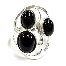 ART NOUVEAU STYLE BLACK ONYX RING 925 STERLING SILVER