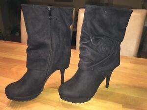 Außergewöhnliche Elegante Schwarze High Heels Plateau Stiefeletten Ankle 38