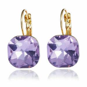 Rhinestone Gold Drop Earrings Square Dangle Multicolor Crystal Ball Ear Jewelry