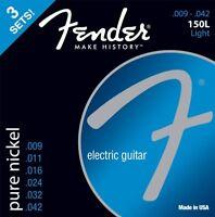 3-PACK of Fender 150L Pure-Nickel Electric Guitar Strings - LIGHT 9-42