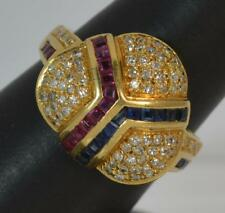18 Carat Gold Ruby Sapphire and Diamond Cluster Ring d0164