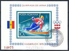 1976 Innsbruck Olympics,Alpine Ski,Winter sports,Romania,Bl.129,IMPERF,FDC/VFU