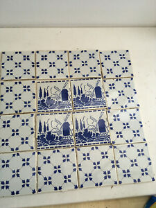 16 ORIGINAL DESVRES FRENCH BLUE AND WHITE TILES