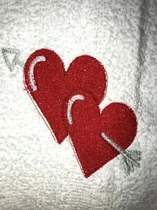 Embroidered White Bathroom Hand Towel   Two hearts with arrow- Love Valentine