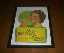 PET RITZ BEER FRAMED COLOR AD PRINT - WEILLER CO. - PHILADELPHIA