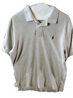 RALPH LAUREN Polo Men's Golf Shirt Light Gray Size M Short Sleeves Blue Horse