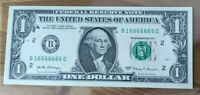 """1 Dollar Bill 7 of a kind in a row """"16666666"""" UNCIRCULATED"""