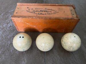 Alte antike Billardkugeln aus Knochen in original Holz Schachtel um 1900, 544 g