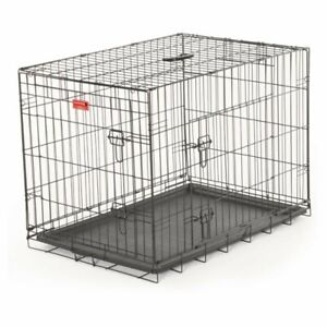 Wire Travel & Training 2 Door Pet Crate Lucky Dog, Silver, Welded Wire Steel NEW