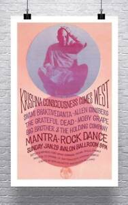Krishna Consciousness Vintage Concert Poster Giclee Print on Canvas or Paper