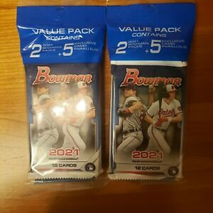 (Lot of 2) 2021 MLB Bowman Baseball Value Cello Pack + 5 Camo Parrallel