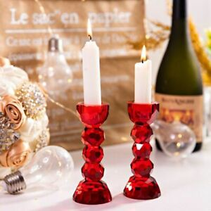 2 Pack Crystal Red Color Glass Candle Holder Candlesticks Dinner Table Decor