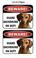 2 Count Beware Guard Dachshund (Brown) on Duty (v1) Laminated Dog Sign