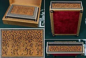 c1930 perfect 'time-capsule' INDIAN carved sandalwood box w/ fine Sadeli inlays