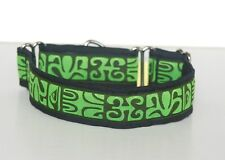 """1.5"""" Small (whippet) Martingale Dog Collar Green Tribal Ribbon on Black"""