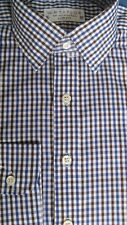 "WH TAYLOR 15""/34"" COTTON NAVY/BROWN GINGHAM SLIM FIT SINGLE CUFF SHIRT"